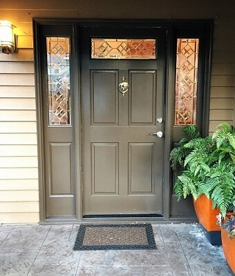 old front entry door with sidelights and glass