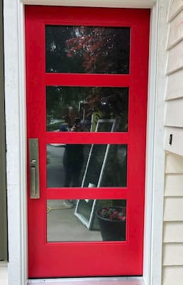 Red Fiberglass Entry Door Adds Curb Appeal