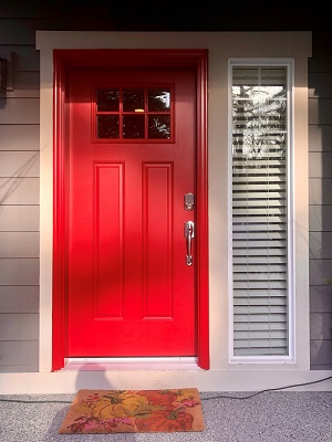 renton home gets new red fiberglass entry door