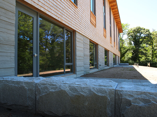 Back exterior of Eastham Public Library addition with new Architect Series Contemporary windows