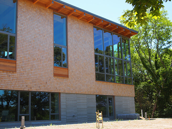 Corner of Eastham Public Library with new Architect Series Contemporary windows