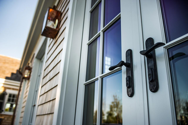 Close-up of French patio door handles on the 2015 HGTV Dream Home in Martha's Vineyard