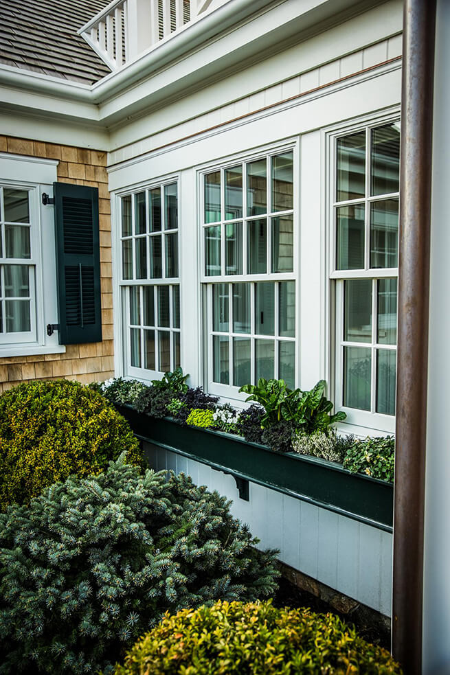 Windows with flower boxes on the 2015 HGTV Dream Home in Martha's Vineyard