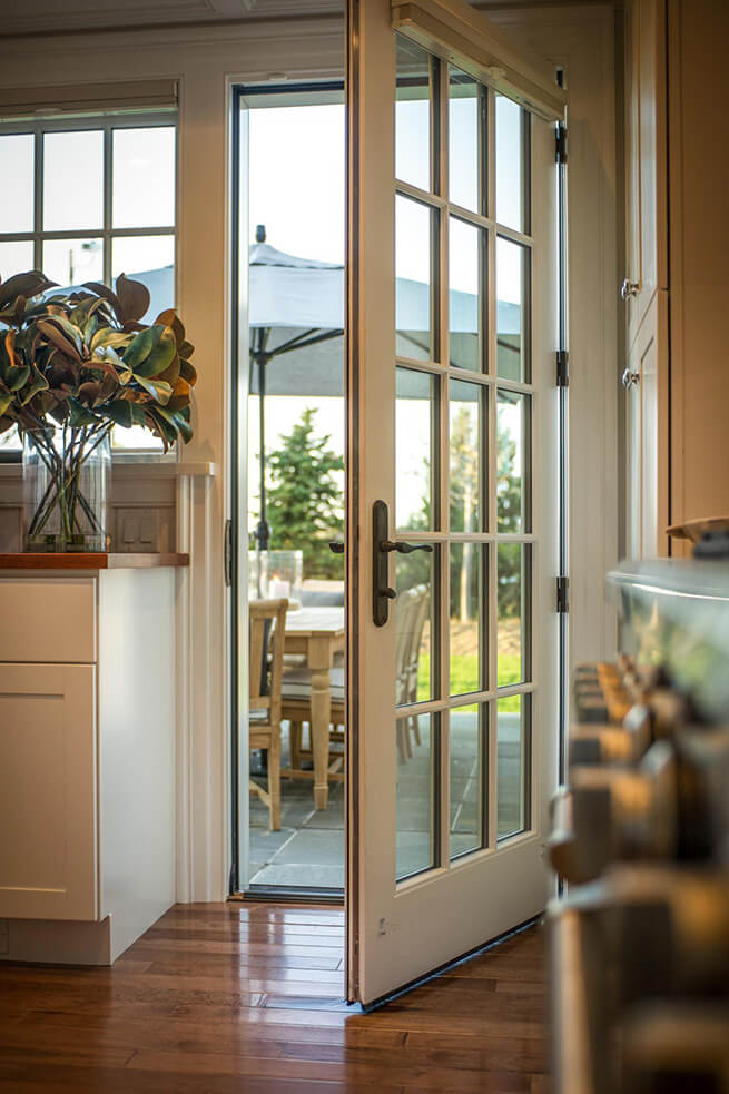 Open French patio door on the 2015 HGTV Dream Home in Martha's Vineyard
