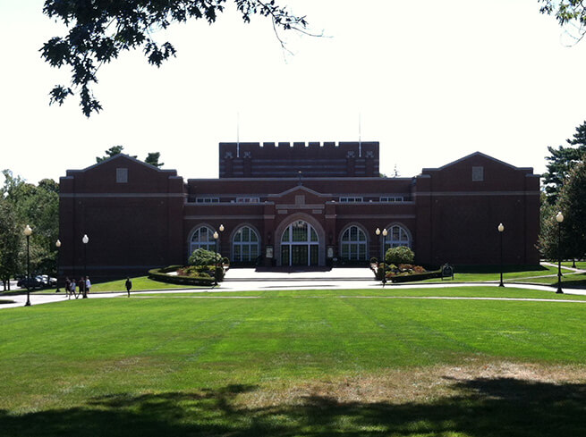 Front lawn of Smith Center for the Arts at Providence College