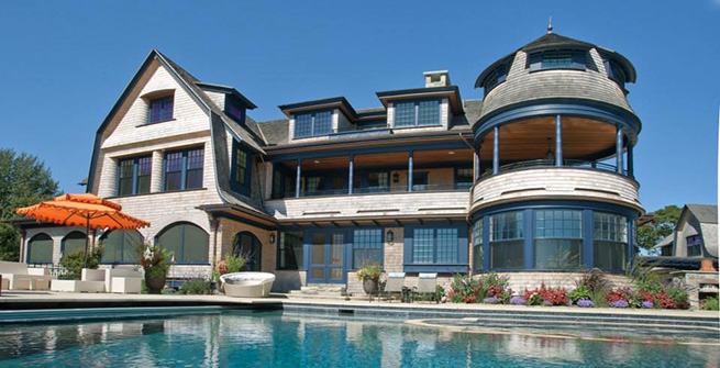 Poolside view of waterfront residence on the South Coast of Rhode Island