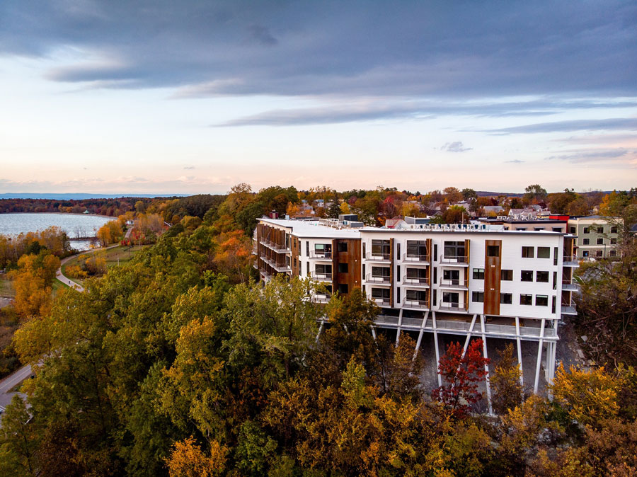 Panoramic view of One Lakeview Apartments in Burlington, Vermont