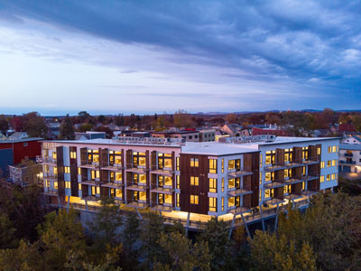 Contemporary Windows and Patio Doors Showcase Skyline from One Lakeview Apartments