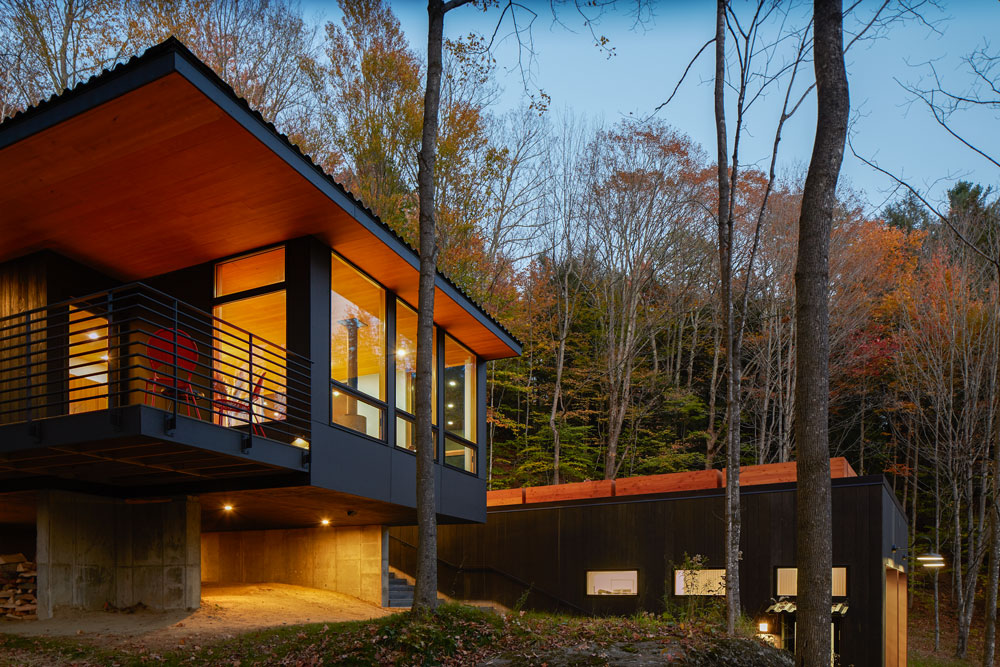 Exterior view of Architect Series Contemporary windows in Mad River guesthouse