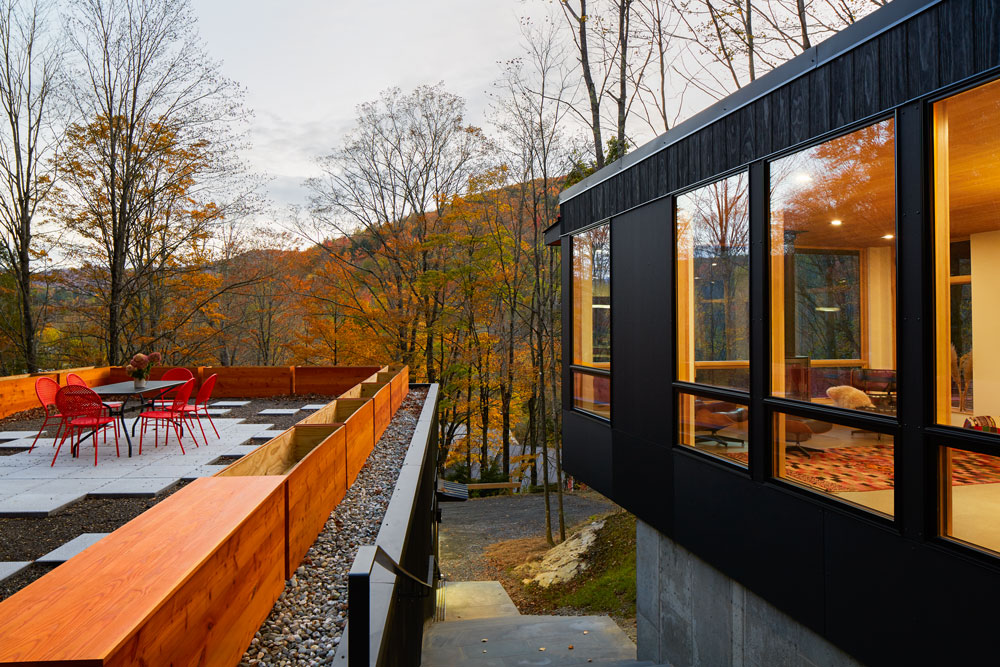 Architect Series Contemporary windows in Mad River guesthouse overlook Vermont forest