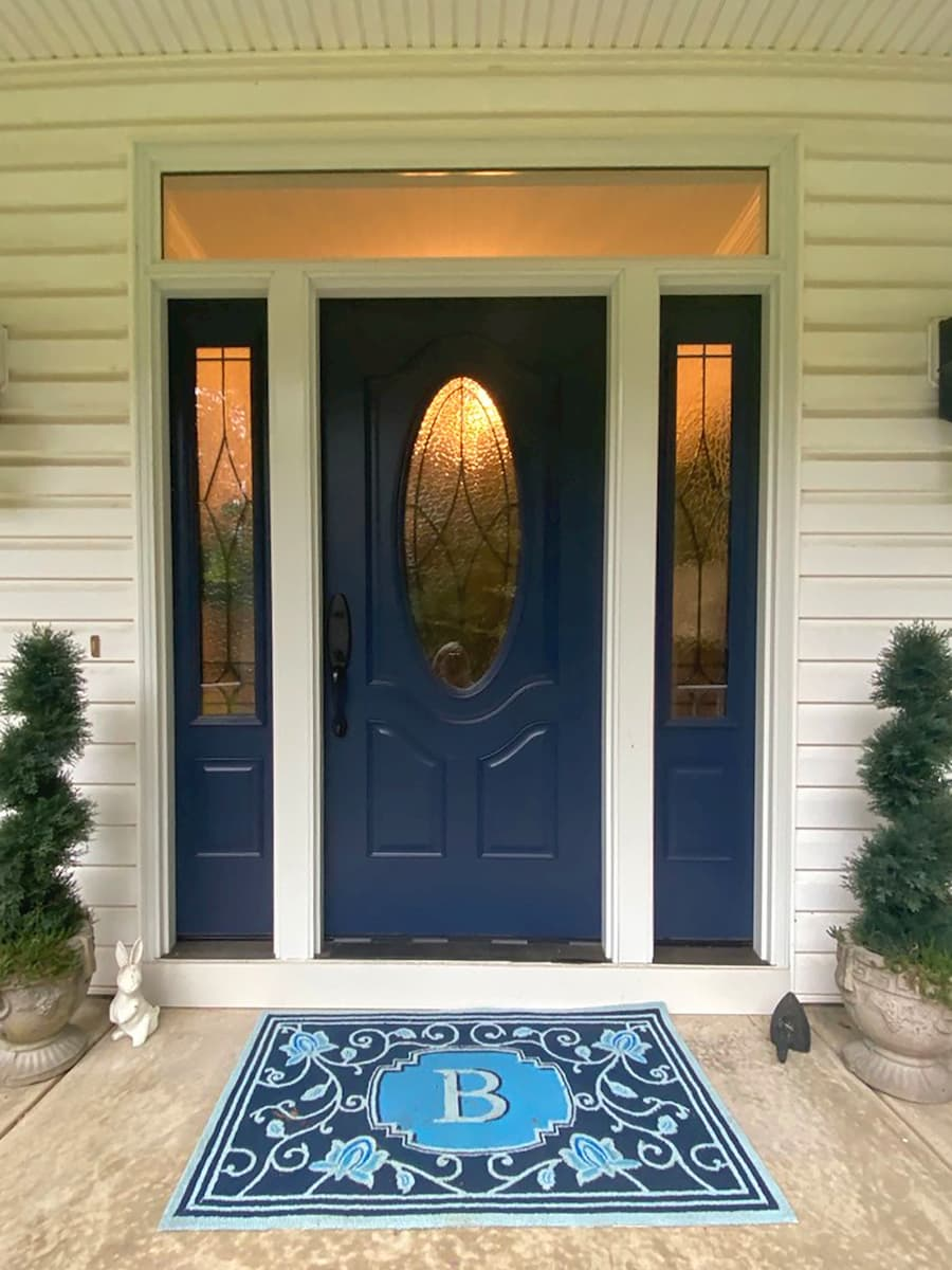 New fiberglass entry door system with sidelights and decorative glass
