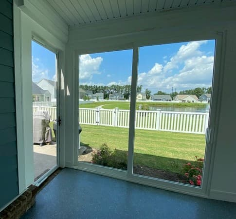 Sun porch with new vinyl sliding patio doors