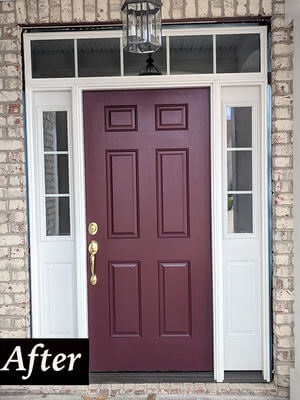 new fiberglass maroon entry door