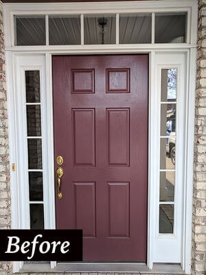 old fiberglass maroon entry door