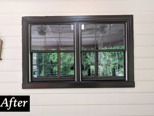 new double-hung wood windows in Midlothian home