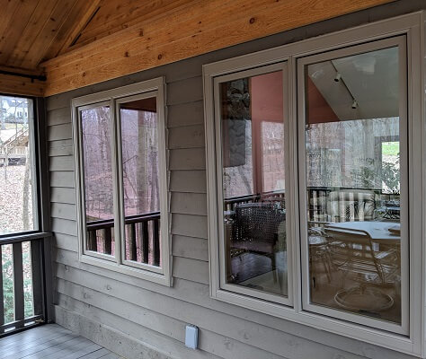 deck image of midlothian home with new wood casement windows