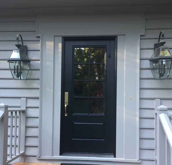 Single Fiberglass Entry Door Replaces Double Entry Door in Virginia Home