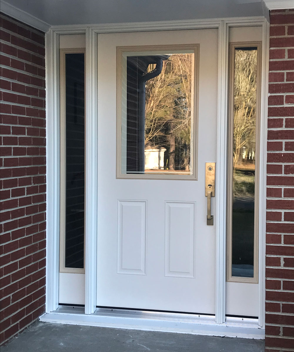 New front entry door system with sidelights on Smithfield, VA, home