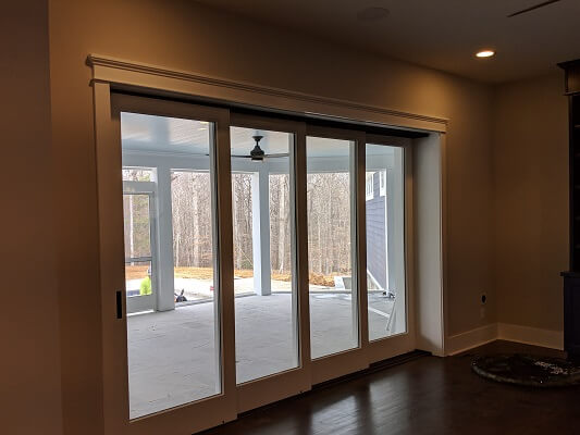 patio door image of midlothian home with new wood double hung windows