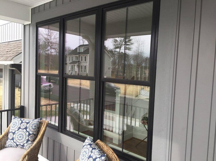 Virginia Home Features Black Fiberglass Double-Hung Windows