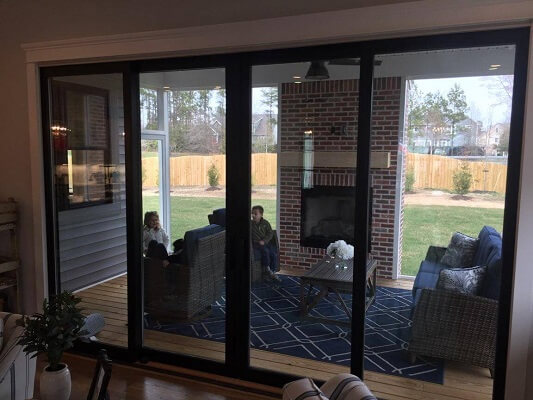 new construction home in virginia gets new fiberglass black double hung windows