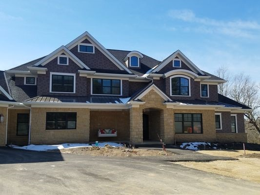 new construction home with double-hung windows