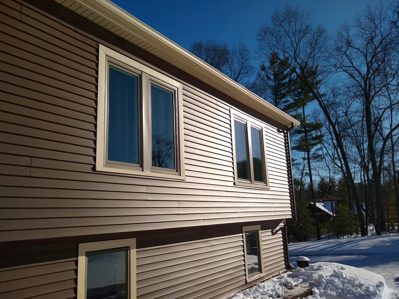 After view of new Pella casement windows in Agawam home