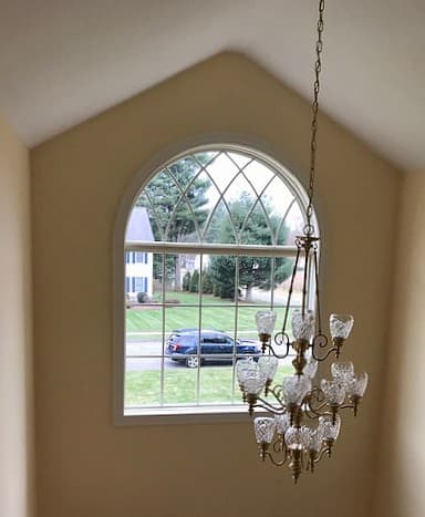 New lifestyle series wood fixed and arched transom window with traditional grille pattern