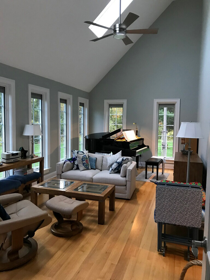 Interior view of new wood windows in West Granby, CT, home