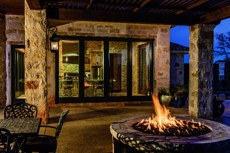 Bifold Patio Doors with Firepit