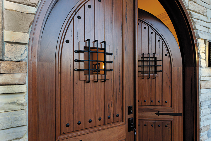 Rustic Walnut Wood Entry Double Doors
