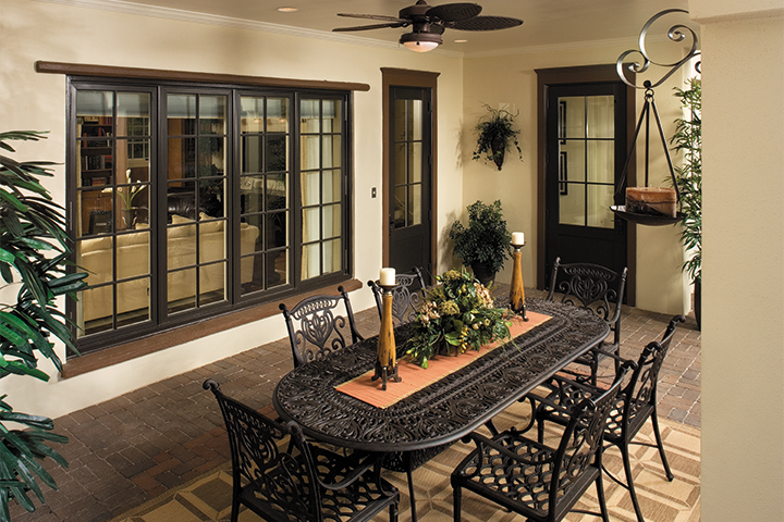 Traditional Brown French Patio Door