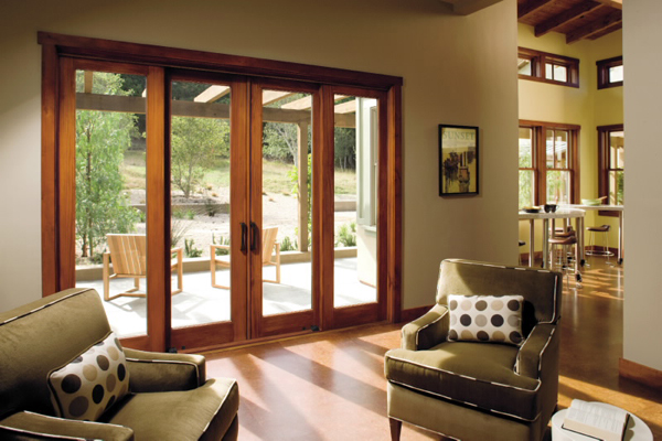 French-style wood sliding patio doors
