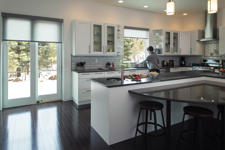 White Kitchen Sliding Glass Doors With Blinds