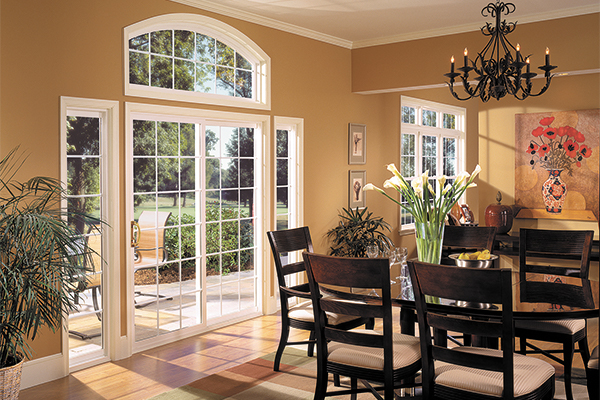 Ornate sliding glass doors