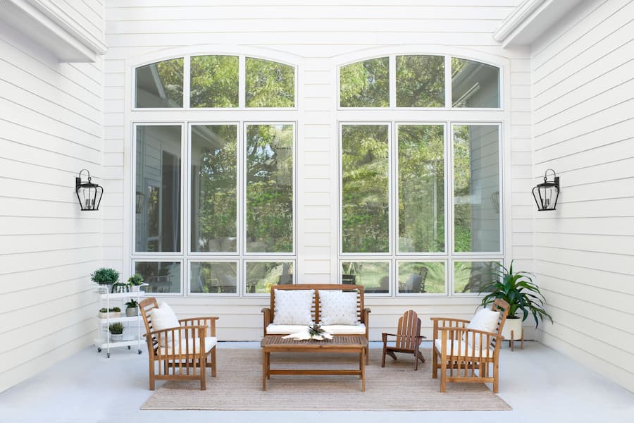 Arched casement windows