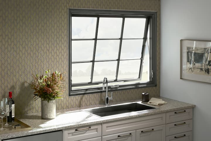 casement window with grid